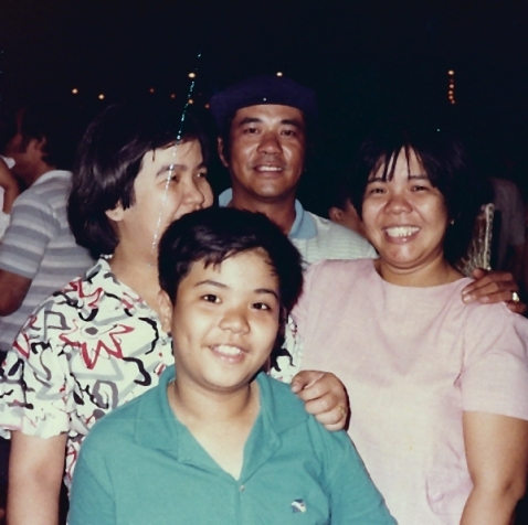 (L-R): my aunt, me, my late papa, mama