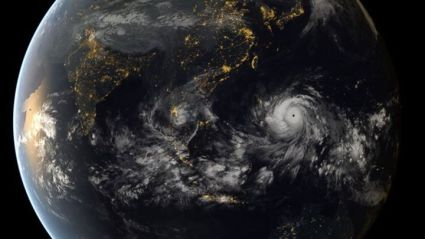 the b*tch of a typhoon seen from space